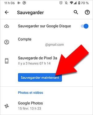 Sauvegardez Android vers Google Drive