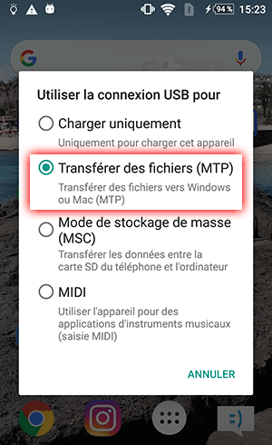 Configurer Android pour transférer des fichiers vers un PC