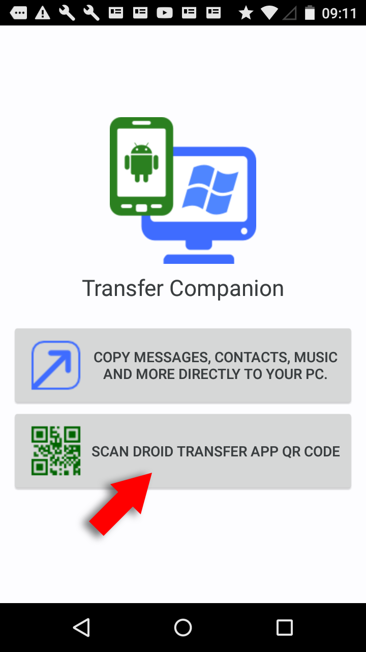Droid Transfer connection screen
