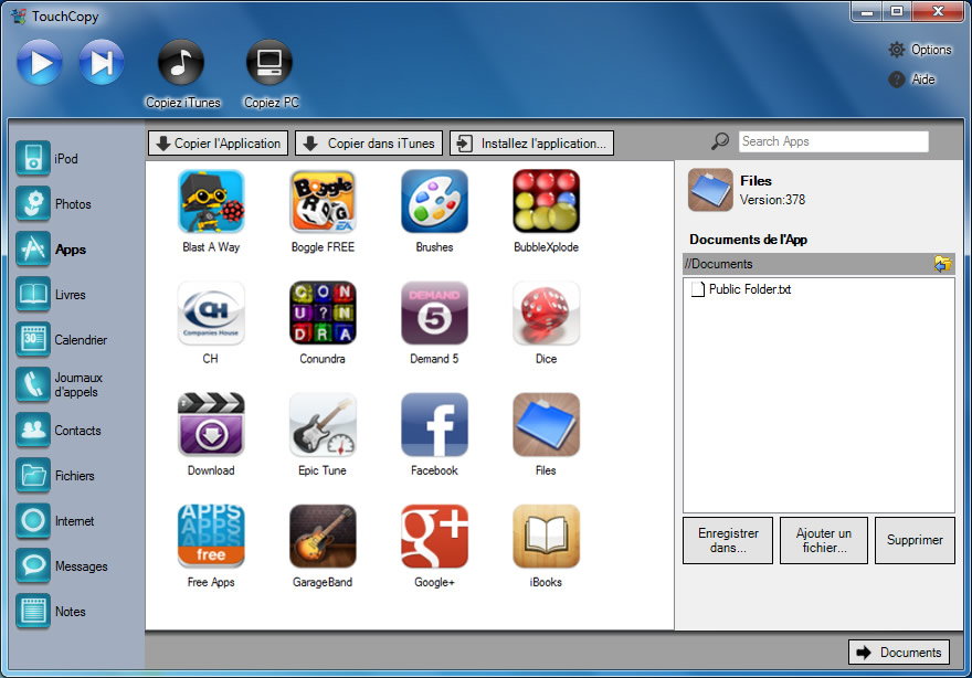 Apps in TouchCopy